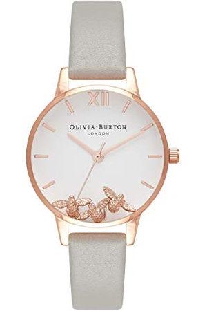 Olivia Burton Dames analoog Japans Quartz horloge met lederen band OB16CH03, /Rose