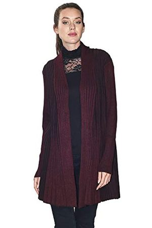 Bonamaison Dames vest met lange mouwen en open getextureerde steek (technisch materiaal) groot formaat T-shirt