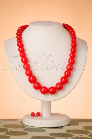 Collectif 50s Natalie Bead Necklace Set in Red
