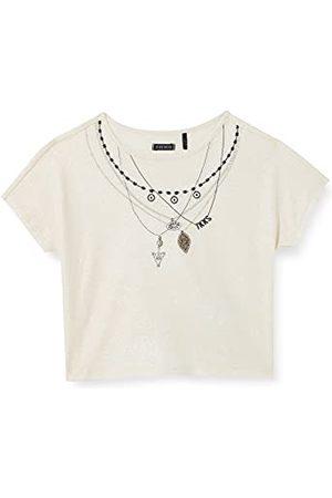 IKKS T-shirt Ecru gemengd met gouden pailletten met reliëf halskettingen meisjes