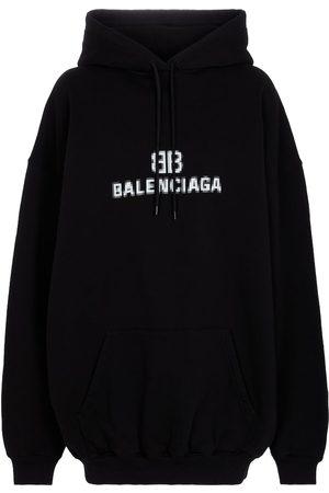 Balenciaga Dames Sweaters - Logo cotton hoodie