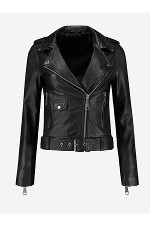 NIKKIE by Nikkie Plessen Zwarte leren biker jacket 32 / black
