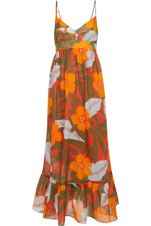 Lee Mathews Oleander floral ramie maxi dress