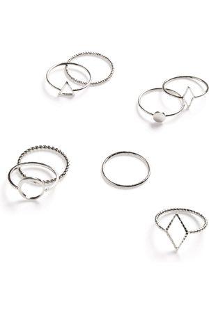 Primark Dames Zilverkleurige geometrische ringen met structuur, set van 8