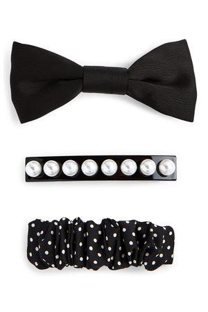 Primark Dames Haaraccessoires - Zwarte haarspelden met strik en parels, set van 3