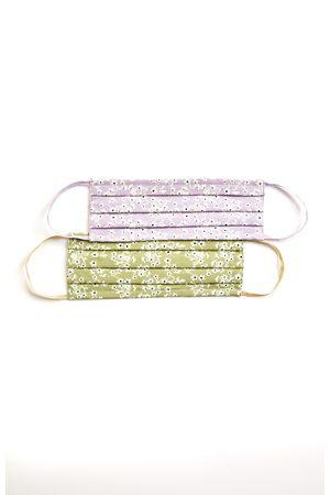 Primark Geweven mondkapjes, en lila met patroon, set van 2