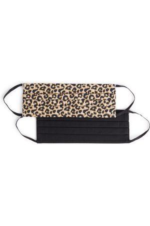 Primark Dames Mutsen - Geweven luipaardprint en zwarte mondkapjes, set van 2