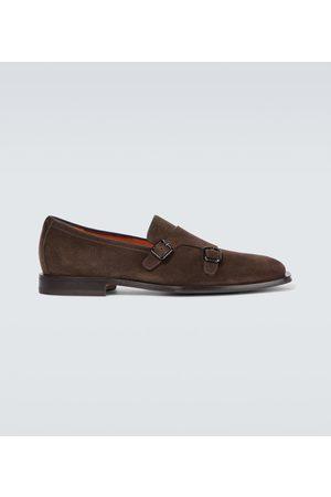 santoni Double monk strap suede loafers