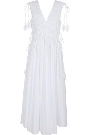 Tory Burch Smocked cotton poplin maxi dress
