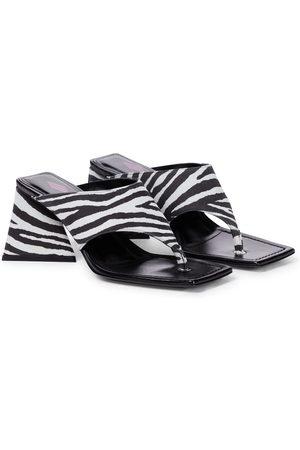 The Attico Devon zebra-print suede thong sandals