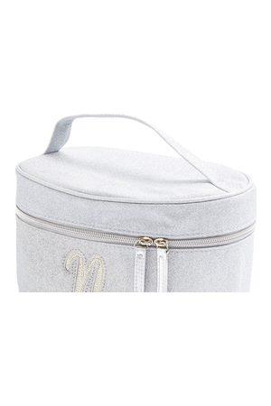 Primark Zilverkleurige beautycase met glitters, letter n met imitatieparels en studs
