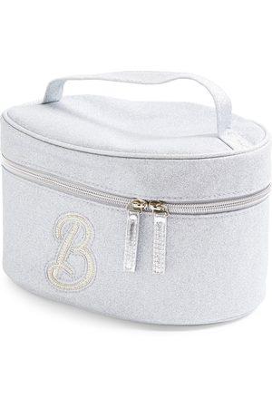 Primark Zilverkleurige beautycase met glitters, letter b met imitatieparels en studs