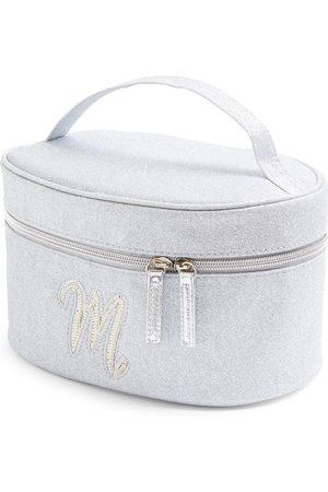 Primark Zilverkleurige beautycase met glitters, letter m met imitatieparels en studs