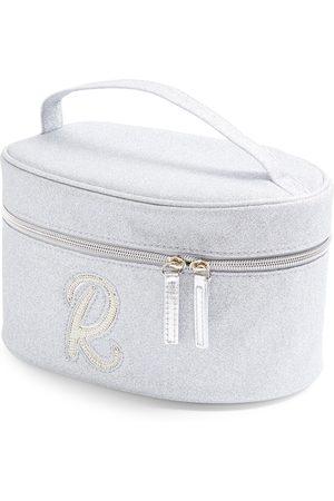 Primark Zilverkleurige beautycase met glitters, letter r met imitatieparels en studs