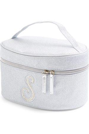 Primark Zilverkleurige beautycase met glitters, letter s met imitatieparels en studs