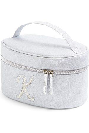 Primark Dames Toilettassen - Zilverkleurige beautycase met glitters, letter k met imitatieparels en studs