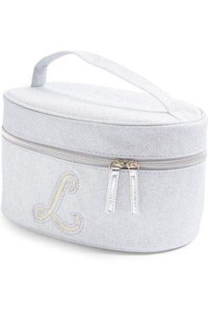 Primark Dames Toilettassen - Zilverkleurige beautycase met glitters, letter l met imitatieparels en studs