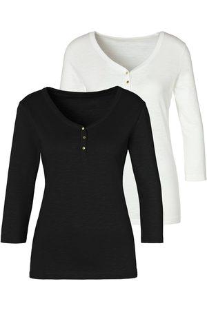 vivance collection Dames Lange mouw - Shirt met 3/4-mouwen (Set van 2)