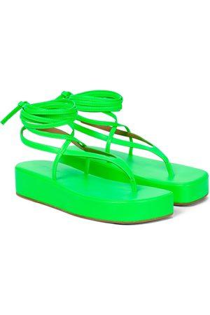 Amina Muaddi Jamie leather platform thong sandals