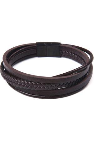 J. Jayz Leren armband »mehrreihiges Design in teilweise geflochtener Optik«