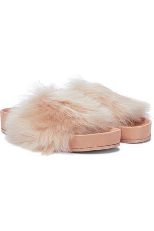 Jil Sander Faux fur-trimmed leather slides