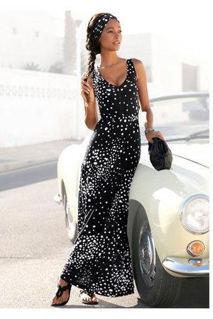 vivance collection Maxi-jurk met stippenprint