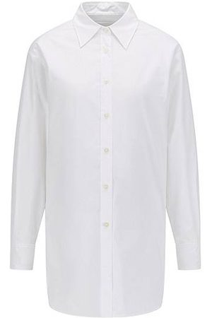 HUGO BOSS Long-length relaxed-fit blouse in organic cotton
