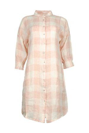 JcSophie Linnen blousejurk met ruitjesprint Delhi nude