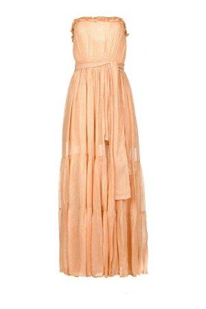 sundress Strapless lurex jurk Jonquille nude