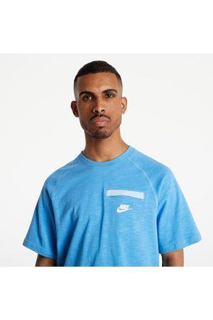 Nike Heren Sportshirts - Sportswear Me SS LTWT Top Coast/ LT Armory Blue/ White