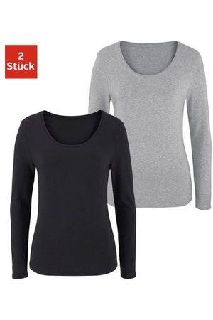 vivance collection Dames Lange mouw - Shirt met lange mouwen elastische katoenkwaliteit (Set van 2)