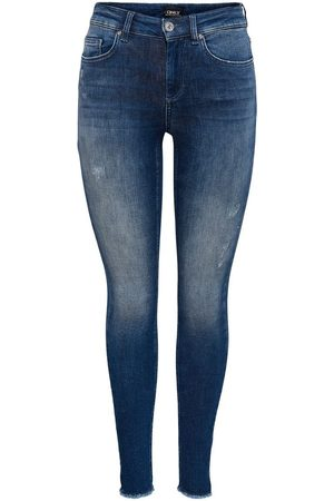 ONLY Dames Skinny - Onlblush Life Mid Ankle Raw Skinny Fit Jeans Dames Blauw