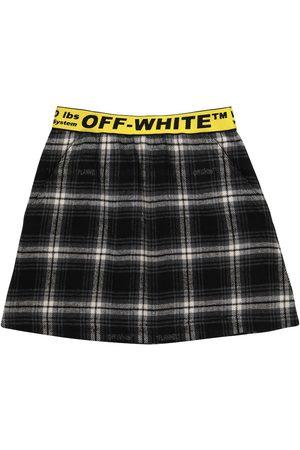 Off-White Kids Checked cotton-blend flannel miniskirt