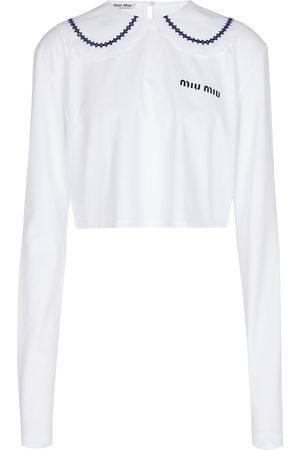 Miu Miu Cropped cotton jersey top