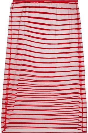 DRIES VAN NOTEN High-rise striped tulle midi skirt