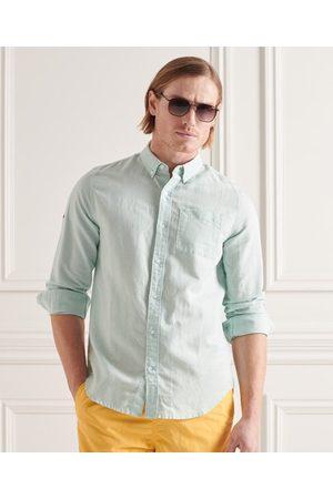 Superdry Heren Lange mouw - Overhemd van katoen en linnen met lange mouwen