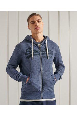 Superdry Loopback hoodie met ton sur ton borduursel en rits