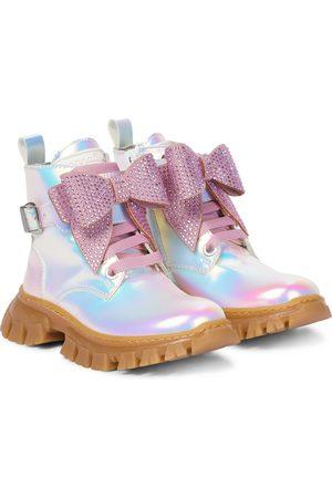 MONNALISA Embellished iridescent ankle boots
