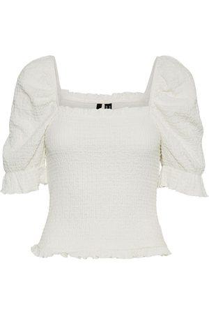 VERO MODA Dames Tops - Puff Short Sleeved Top Dames White