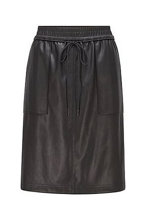 HUGO BOSS Dames Leren rokken - Faux-leather skirt with drawstring waist and patch pockets