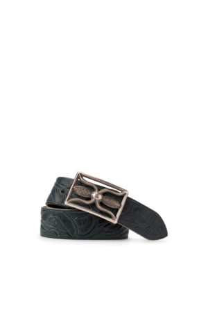 RRL Hand-Tooled Indigo Leather Belt