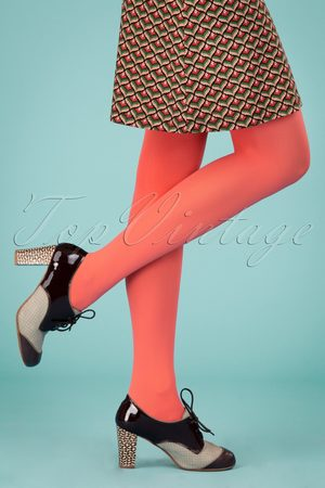 Du Milde Dames Panty's & Maillots - 60s Tights in Lobster Red