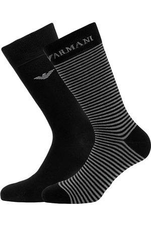 Emporio Armani Sokken & Kousen - Corta giorgio logo stripe 2-pack zwart & grijs