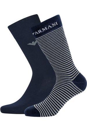 Emporio Armani Sokken & Kousen - Corta giorgio logo stripe 2-pack blauw & grijs
