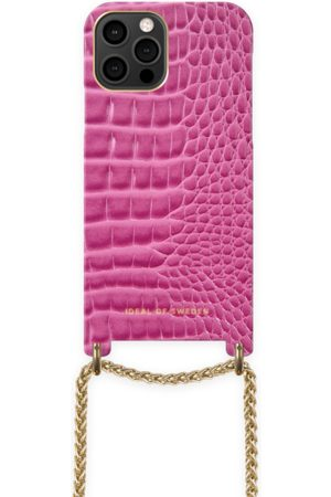Ideal of sweden Lilou Necklace Case Fuchsia Croco iPhone 12 Pro Max