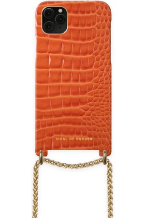 Ideal of sweden Lilou Necklace Case Orange Croco iPhone 11 Pro Max