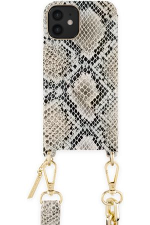 Ideal of sweden Statement Phone Necklace Case iPhone 12 Beige Shimmery Snake
