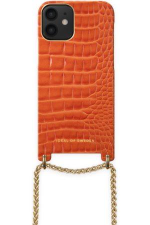 Ideal of sweden Lilou Necklace Case Orange Croco iPhone 12 Mini