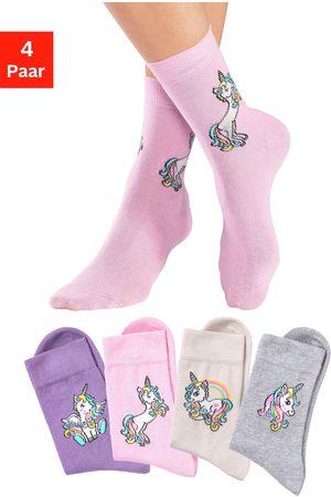 H.I.S Meisjes Sokken & Kousen - Basic sokken met eenhoorn motieven (4 paar)