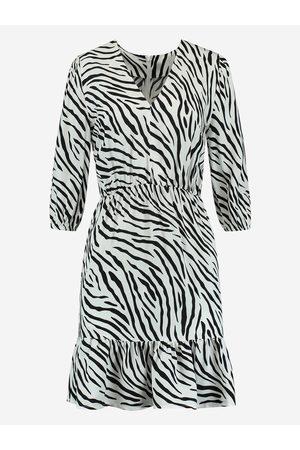 NIKKIE by Nikkie Plessen Dames Geprinte jurken - Jurk met zebra print 32 / Off White